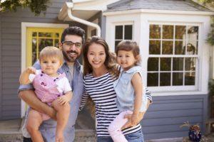 happy family outside