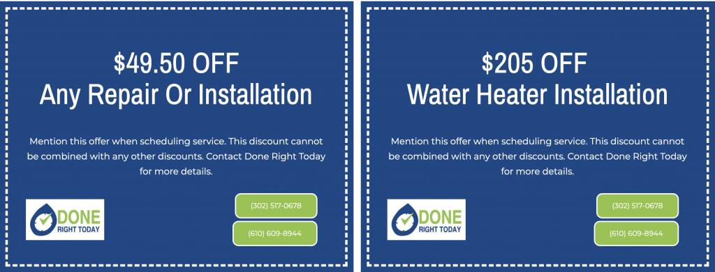 Water Heater and plumbing Coupon
